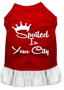 Spoiled in Custom City Screen Print Souvenir Dog Dress Red with White Med